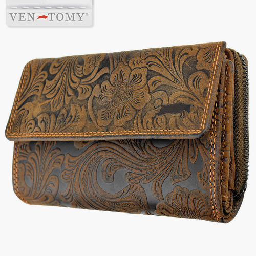 VEN-TOMY • LEATHER WALLET WITH FLORAL PATTERN