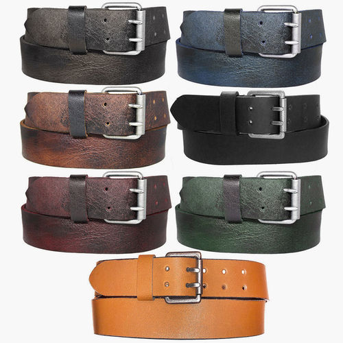 ZAKATTE • LEATHER BELT WITH DOUBLE DORN UP TO 120 CM
