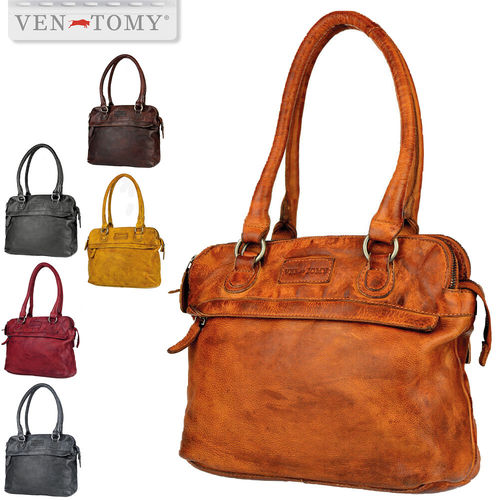 VEN-TOMY • High quality wasched leather handbag