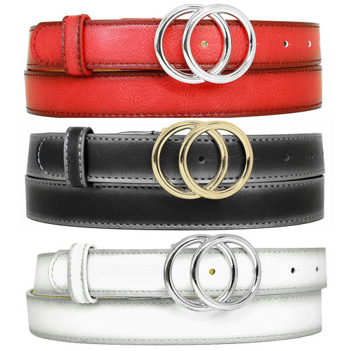 ZAKATTE • IMITATION LEATHER GIRL BELT WITH DOUBLE RING BUCKLE