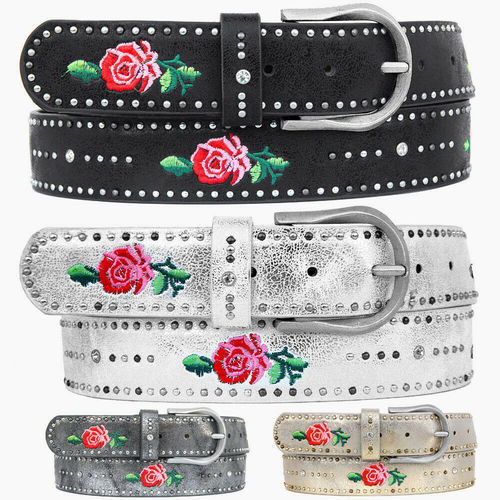 ZAKATTE • Embroidered belt with studs and rhinestones