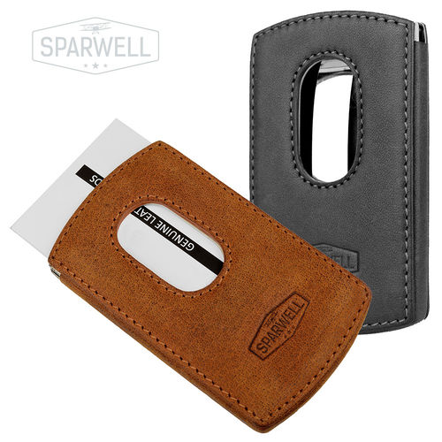 "SPARWELL • Business card holder ""Snap"" in stainless steel-leather combination"
