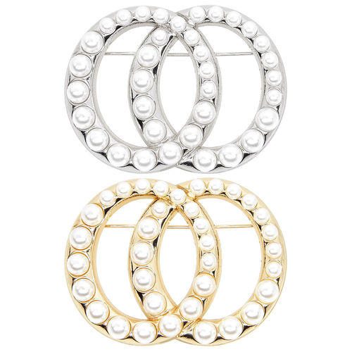 ZAKATTE • Double ring brooch with plastic beads